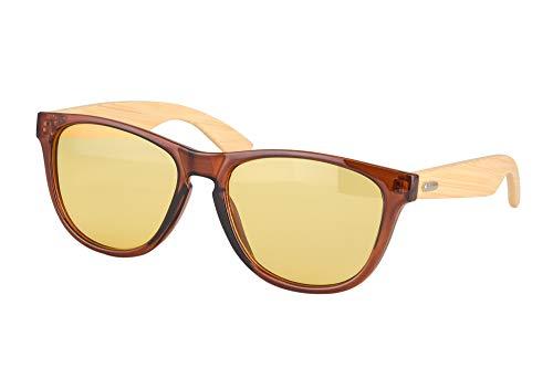 SHINU Pesca Gafas de Sol Fotocromaticas Polarizadas para Hombre Conducir Correr Gafas de Golf Gafas de Sol de Madera de Bambu-AP6100(C3,brown&bamboo nature)