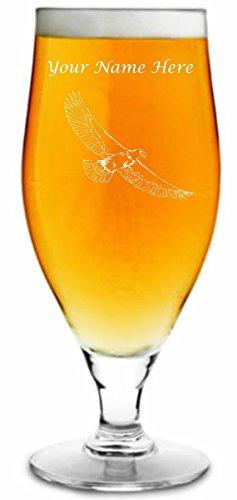 500 ml getemd bierglas met Eagle Design en gepersonaliseerd met uw naam of tekst (tot 20 tekens)