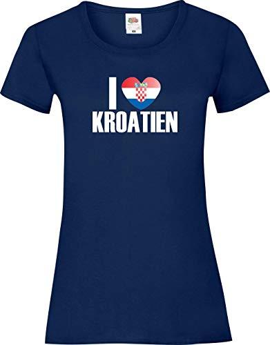 Shirtinstyle Shirt pour Femmes WM Shirt de pays I love Croatie couleurs diverses, Tailles XS-XL - Marine, XL