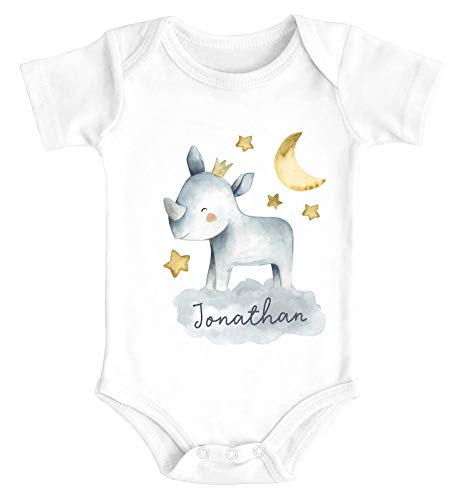 SpecialMe® Baby Body mit Namen Bedrucken Lassen Tier-Motive Nashorn Löwe Elefant Watercolor Kurzarm Bio Baumwolle Nashorn weiß 3-6 Monate