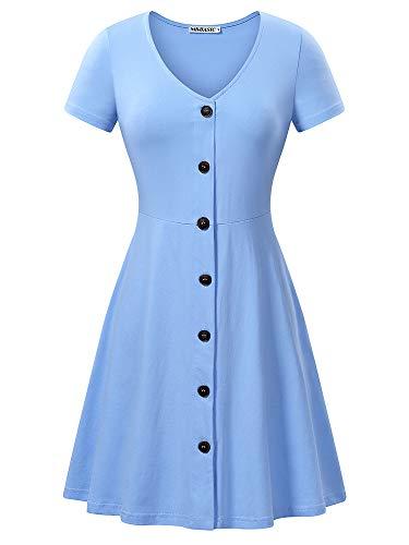 MSBASIC Light Blue Dress Summer Dress for Women SkyBlue L