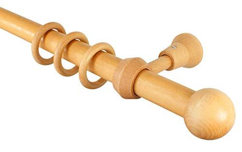 iso-design Holz Gardinenstange mit Endstück Kugel Farbe Eiche hell, 28 mm Durchmesser, 180 cm