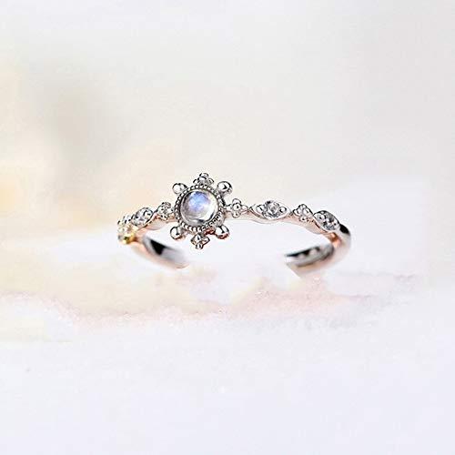 JIAXUN Ring 925 Sterling Silber Öffnung einstellbar Mondstein Olivinblau Topas Retro Lady Ring, Geburtstagsgeschenk, Lady Geschenk, Mutter Geschenk