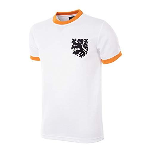Copa - Camiseta de fútbol para Hombre, diseño Retro Mundo de Holanda de 1978, Hombre, Camiseta de Cuello Redondo Retro de fútbol, 183, Blanco, Small