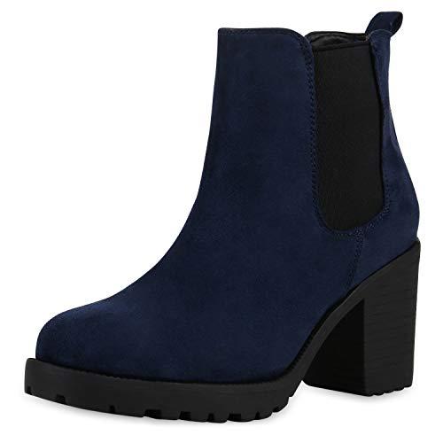 SCARPE VITA Damen Stiefeletten Blockabsatz Chelsea Boots Profilsohle 164145 Dunkelblau Velours 39