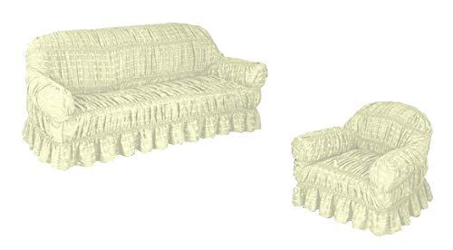 Funda de sofá Jacquard en 6 colores para 1, 2 y 3 plazas/alternativa a la manta de sofá (crema, 3 plazas)
