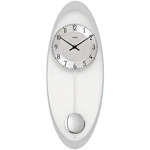 Quarzuhr - Wanduhr - AMS Quarz mit Pendel silbern oval Pendeluhr mit Glas und Aluminium