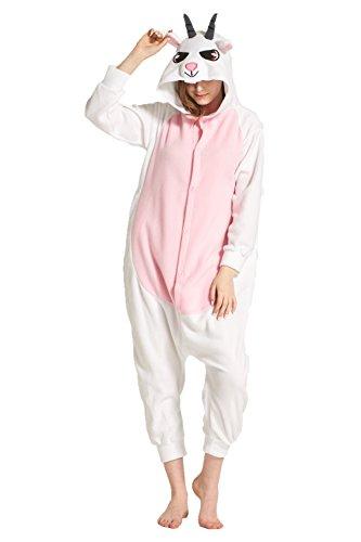 MizHome Halloween Costume Goat Hooded Pajamas Kigurumi Cosplay Goat S
