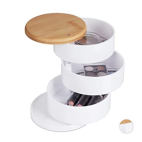 Relaxdays Make Up Organizer, rund, 3 drehbare Ebenen, für Kosmetik & Schmuck, Bambusdeckel, Kunststoff, Schminkbox, weiß, 1 Stück
