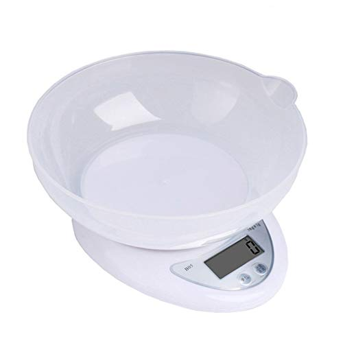 Mazhar Balanza electrónica de Cocina de Alta precisión para el hogar Balanza electrónica Mini balanza electrónica Báscula para Hornear Escala de gramo - Blanco 5 kg / 1g Sin luz Negra