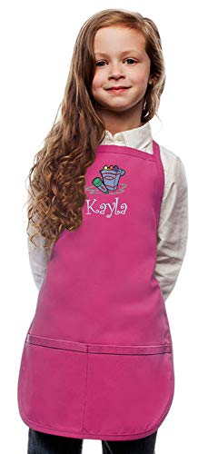 My Little Doc Personalized Hot Pink Kids Art Smock Crayons Embroidery Design, Reg