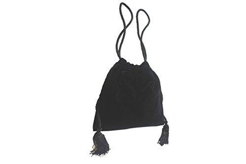 agrafa Bolso de terciopelo decorado con borlas negro