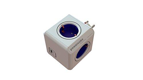 allocacoc PowerCube Original USB - Ladrón multiple con 4 enchufes 230 V y un puerto USB, en forma de cubo, (color blanco y azul)