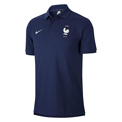 Nike 2020-2021 France Core Polo Football Soccer T-Shirt Jersey (Obsidian)