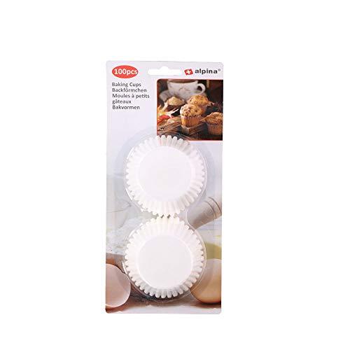 Papiermuffins Backförmchen Muffinform, 100 Stück, stabiles Papier, ca. Ø 6.5 x 3 cm, weiß