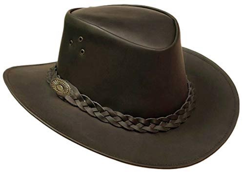 Real Leather Western Style Cowboy Bush Hat Brown Removable Chin Strap UK Stock(XL (60-61 cm))
