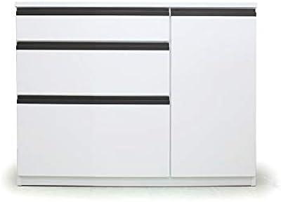 キッチン カウンター 木製 完成品 100cm 収納 (WHITE)