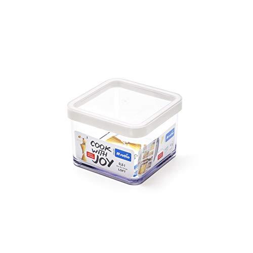 Rotho Loft Vorratsdose 0.5 l, Kunststoff (BPA-frei), transparent / weiss, 0.5 Liter (10 x 10 x 7,2 cm)