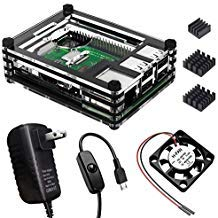 0o0Egg_X for Raspberry Pi 3 Model B+ Case with Fan Heatsink and 5V/3A Adapter with On/Off Switch Cable (9 Layers, Black)