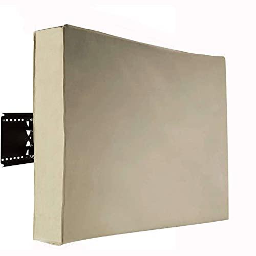 Impermeable Funda TV Para Outdoor, Pesado 600D Oxford Funda TV Exterior Weatherproof Resistente A La Intemperie Protector Para Televisor Funda Compatible Soportes Para TV-Color de arroz-36-38 pulgada