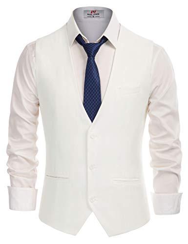 Men's Classic Formal Dress Vest Sleeveless 3-Buttons Suit Vest White, Small
