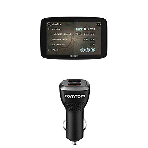 TomTom GO Professional 620 LKW-Navigationsgerät (Updates über Wi-Fi, 15,2 cm (6 Zoll), Smartphone-Benachrichtigungen) + Duales USB Auto-Schnellladegerät (geeignet für alle TomTom Navigationsgeräte)
