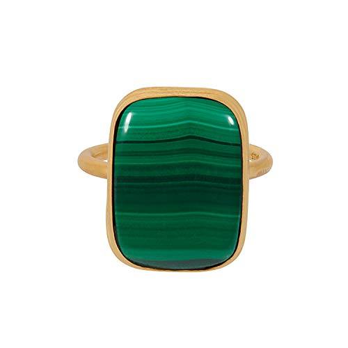 Pernille Corydon Ring Damen Gold Cosmos Malachite Ring Größe anpassbar Silber vergoldet - R236g-55