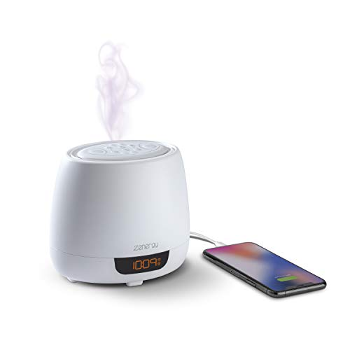 iHome Zenergy Aroma Dream Aromatherapy Diffuser Alarm Clock with Sound Therapy, 12 Soothing Sounds and White Noise, Aroma Sound Timers, Anti-Anxiety and Stress Relief