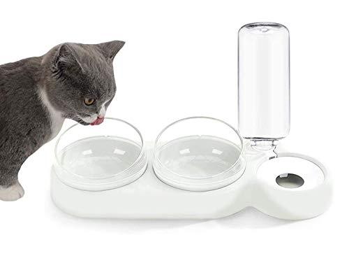 Dracol Katzennapf-Set, Katzennäpf Hundenäpf,doppelter Futternapf für Nass- und Trockenfutter,futternapf Katze mit automatischer Wasserflasche,360° drehbar und 15° neigbar Weiß