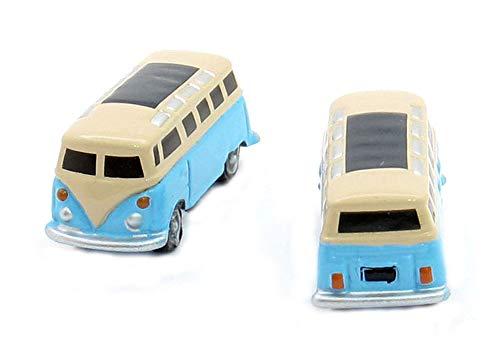 Manschettenknöpfe Bus hellblau beige schwarz silbern + Exklusivbox blau