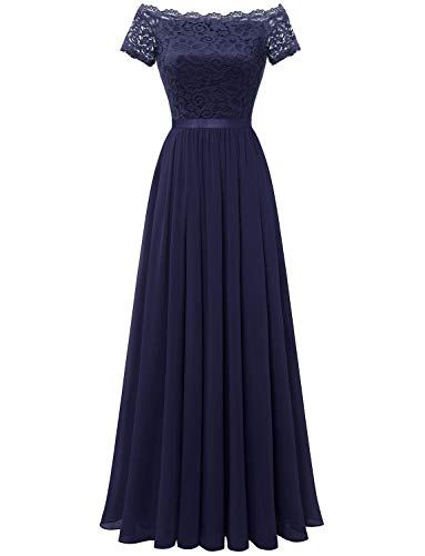 Dressystar Women Off Shoulder Floral Lace Party Cocktail Dress Formal Party Long Dress 0052 Navy XL