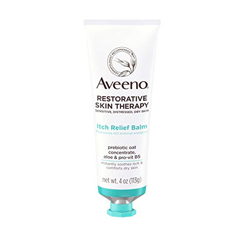 Aveeno Restorative Skin Therapy Itch Relief Body Balm for Sensitive, Distressed, Dry Skin, With Prebiotic Oat & Pramoxine Hcl, Formulated Without Parabens, Fragrance & Steroids, 4.0 Ounce