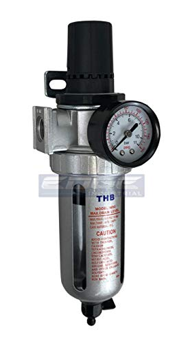 T-H-B CO EDGE INDUSTRIAL in-LINE Compressed AIR Filter Regulator Combo Piggyback, Poly Bowl and Metal Bowl Guard, 5 Micron Element, Adjustable from 7 to 145 PSI (1/2