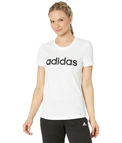adidas Essentials - Camiseta Delgada para Mujer, Mujer, Camisa, DP2361, Blanco/Negro, XS