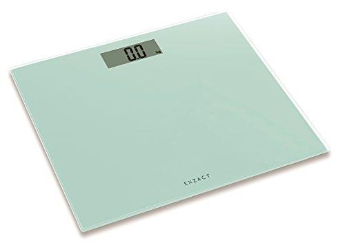 Exzact ColorSlim – Personenwaage/Elektronische Körperwaage/Digitale Badezimmerwaage - Ultra schmal 1.7 cm Dicke -150 kg / 330 lb - farbige Glasplattform (Weiß - Lime White)