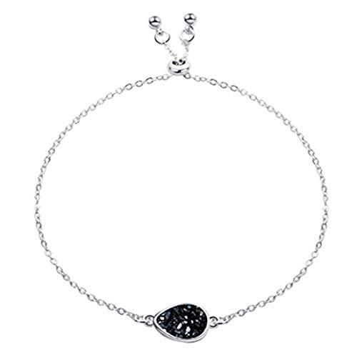 Pulsera de piedra de drusa de cristal natural geométrica, cadena de eslabones ajustable, joyería para mujer, joyería de mano (plata + negro)