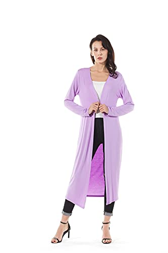 AMGLISE Women's Solid Cotton Essential Duster Long Cascading Open Front Lightweight Cardigan (XL,Lavender)