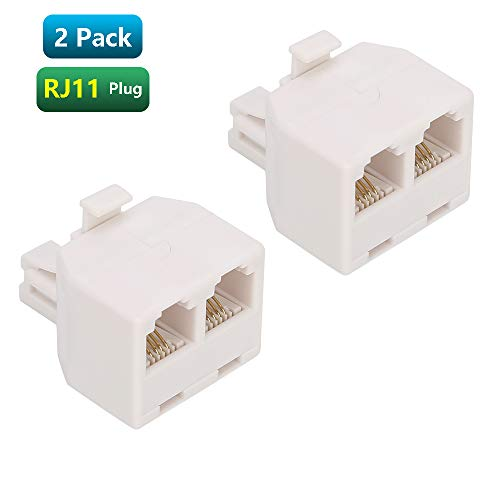 Urmust RJ11 Plug 1 to 2 Dual Phone Line Splitter Wall Jack Split into Two Modular Converter Adapter