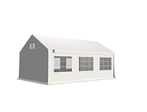 KC Partyzelt 4x6 m Pavillon Zelt 240g/m² - PE Plane - Gartenzelt Festzelt Bierzelt - Rahmen aus Stahl - Inkl. Seitenwände & Giebelwände - Weiß