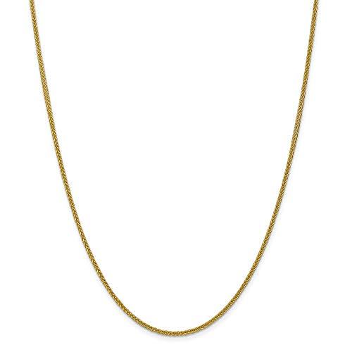 14k Yellow Gold 2mm 3 Wire Link Wheat Chain Necklace 20 Inch Pendant Charm Spiga Fine Jewelry For Women Gifts For Her