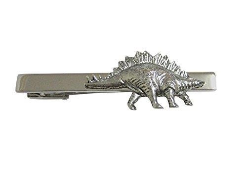 Kiola Designs Silver Toned Textured Stegosaurus Dinosaur Square Tie Clip