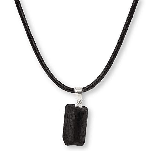 HAND-PRO Collar Turmalina Colgante (función Gargantilla y Pulsera) Piedra turmalina Negra Piedra Azabache turmalina Negra Natural Colgante turmalina Negra