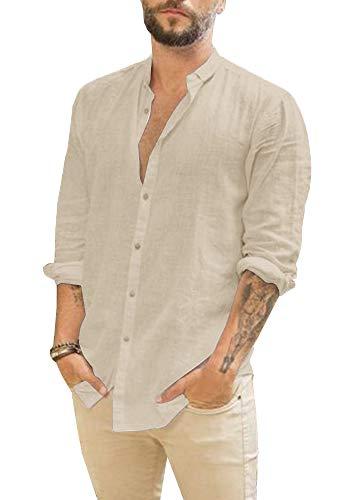 Pxmoda Herren Hemd Langarm & Kurzarm Leinenhemd mit feinem Revers Regular Fit Leinen Shirt Freizeithemd für Männer Ideales Sommerhemd 2019