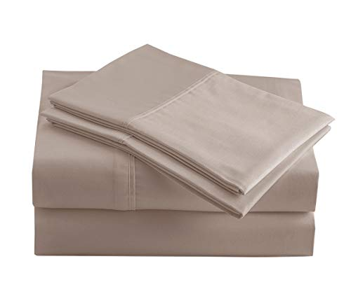 "Casa Platino 100% Organic Cotton Sheets Set, Pure Organic Cotton Long- Staple Percale Weave Ultra Soft Best- Bedding Sheets for Bed, GOTS Certified, Fits Mattress Upto 15"" Deep Pocket (Queen, Taupe)"