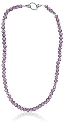 EDC Damen-Halsband Edelstahl rhodiniert Glaskristall Glamour Chic Punky Purple violett EENL10236A420