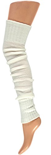 krautwear® Damen Beinwärmer Stulpen Legwarmers Overknees gestrickte Strümpfe ca. 70cm 80er Jahre 1980er Jahre (Weiss)