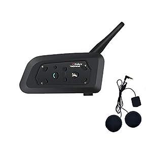 immagine di V6 Moto Bluetooth Interfono per Casco Interfono, full duplex Interphone per moto senza fili Connetti fino a 6 Riders, Radio FM/GPS / MP4 / 1200M(1 pezzi Auricolare morbido)