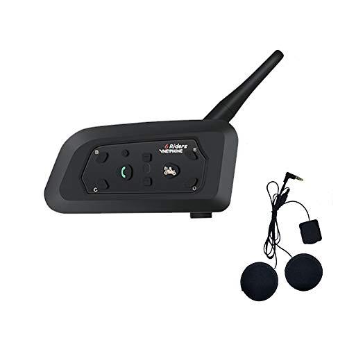V6 Moto Bluetooth Interfono per Casco Interfono, full duplex Interphone per moto senza fili Connetti fino a 6 Riders, Radio FM/GPS / MP4 / 1200M(1 pezzi Auricolare morbido)