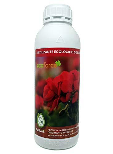CULTIVERS Fertilizante Ecológico Geranios Líquido 1 L. Hojas más verdes, Mayor Floración e Intensifica el color. Con Macronutrientes y Micronutrientes. Abono 100% Orgánico y Natural