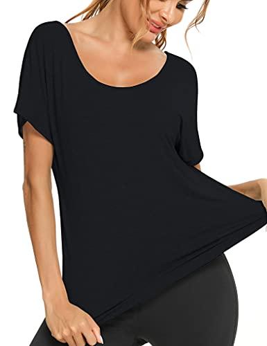 Sykooria Camiseta Deportiva Mujer, Fitness de Manga Corta Tops de Yoga Colores Lisos Camiseta Holgada Informal Transpirable de Secado Rápido Ropa Deportiva Entrenamiento Atlético